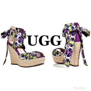 "NWOB UGG Espadrille ""Lucianna"" Wedge Sandals 10"